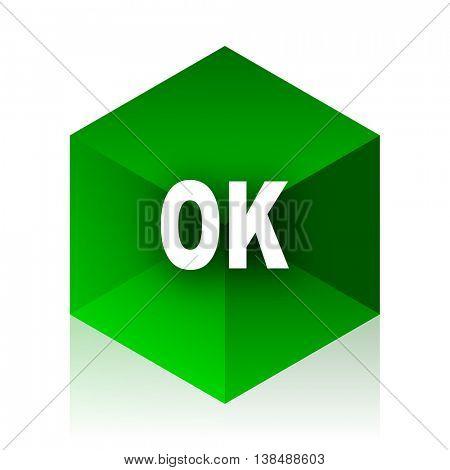 ok cube icon, green modern design web element