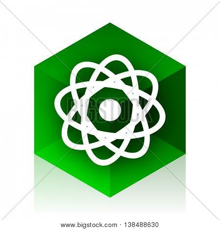 atom cube icon, green modern design web element