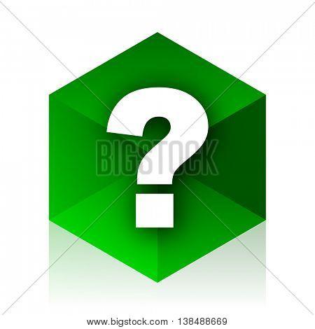 question mark cube icon, green modern design web element