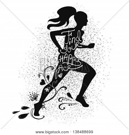 Illustration of isolated black running beautiful woman silhouette on a white background. Runner girl silhouette with text inside - find your happy pace.