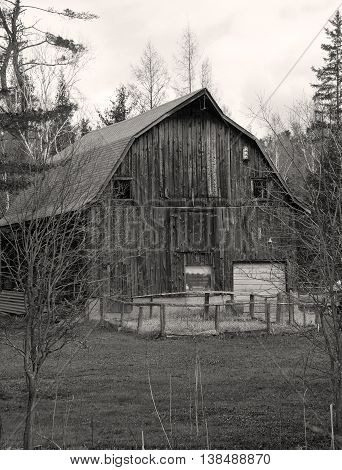Old rustic barn in black and white