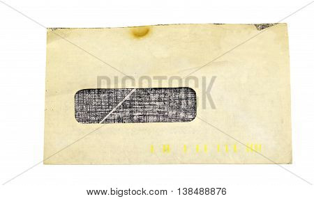 Old open window envelope on a white background