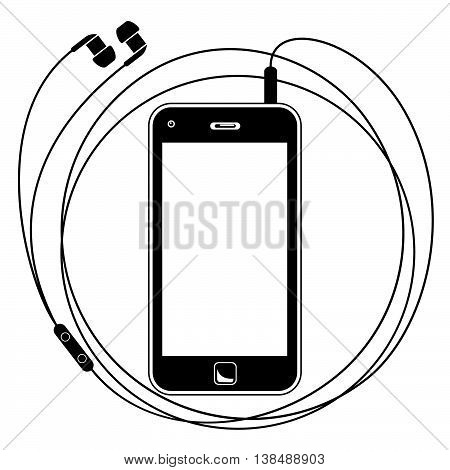 Smart Phone With Earphones. Simple Vector Illustration Of A Smart Phone With Earphones. Silhouette