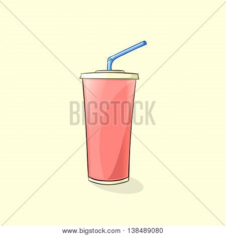 Beverage plastic cup with straw in cartoon style. Vector illustration