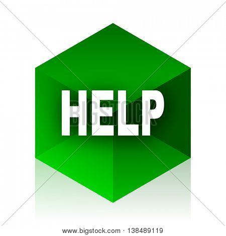 help cube icon, green modern design web element