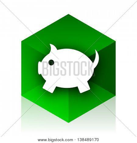 piggy bank cube icon, green modern design web element