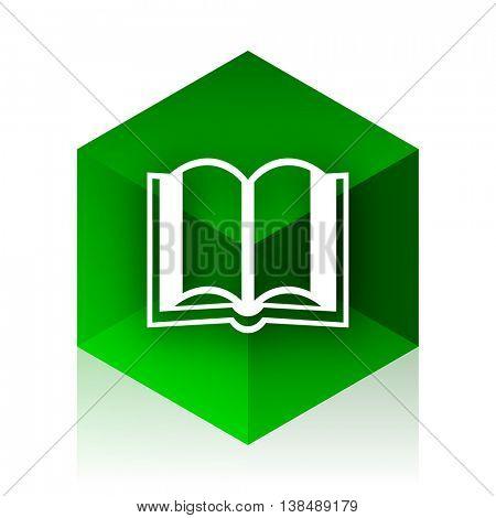 book cube icon, green modern design web element