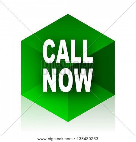 call now cube icon, green modern design web element