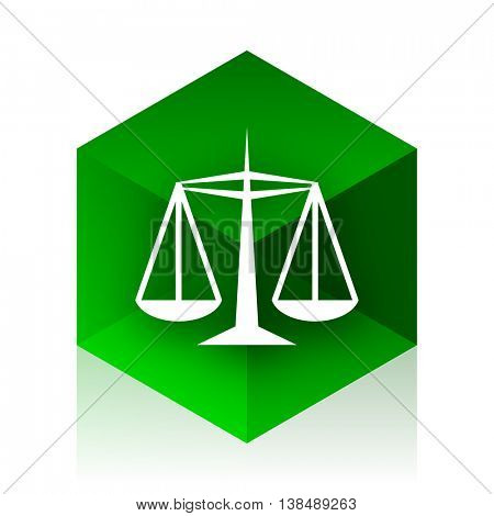 justice cube icon, green modern design web element