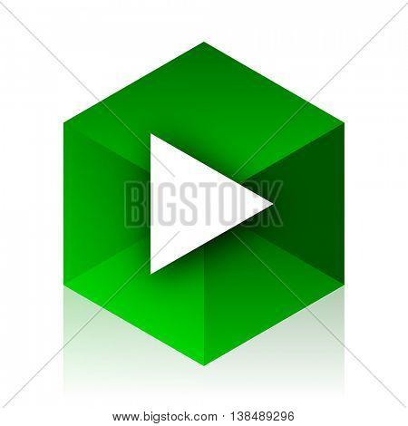 play cube icon, green modern design web element