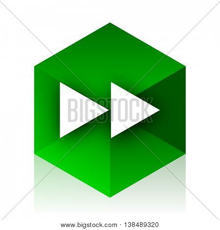 rewind cube icon, green modern design web element