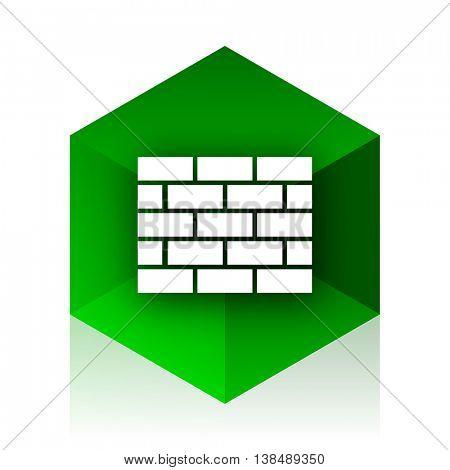 firewall cube icon, green modern design web element