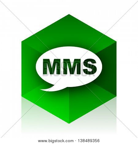mms cube icon, green modern design web element