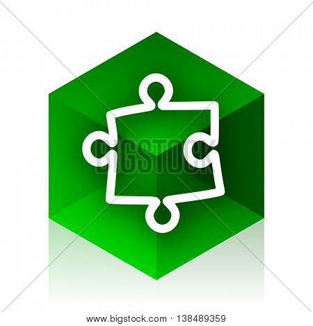 puzzle cube icon, green modern design web element