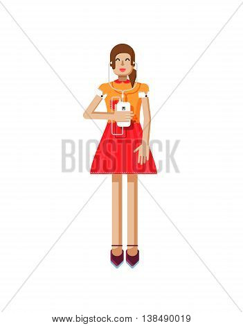 Stock vector illustration isolated of European girl with brown hair in red flared skirt, blouse, touch screen, smartphone in hand, woman listen music from phone in flat style on white background