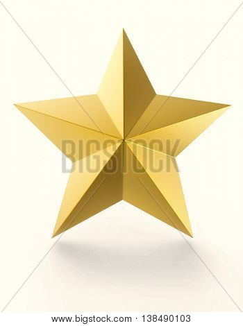 Gold star isolated on white background. 3D rendering image.