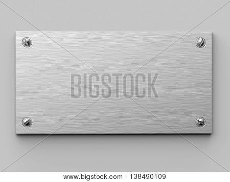 Blank brushed metal plate fixed on the white wall. 3D rendering industrial background.
