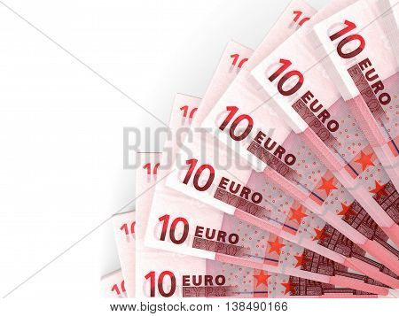 Money fan on white background. Ten euros. 3D illustration.