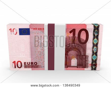 Pack Of Banknotes. Ten Euros.