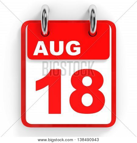 Calendar On White Background. 18 August.