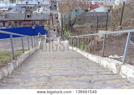 Nizhny Novgorod, Russia. - April 22.2016. Steep stairs from the high bank of the Oka River to the street Christmas