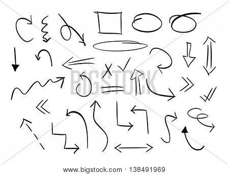 Hand drawn arrows set, vector