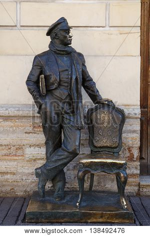 Urban Sculpture. A monument to the literary hero Ostap Bender on the Italian street July 10, 2016 in St. Petersburg, Russia.