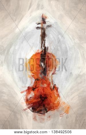 2D illustration of a grunge painted violin