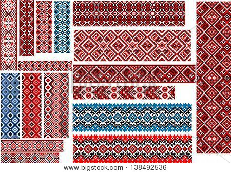 Set of editable ethnic patterns for embroidery stitch in red and black colors
