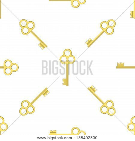 Yellow Keys Isolated on White Background. Seamless Gold Key Pattern