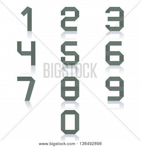 Set paper numbers from zero to nine isolated on white background with mirror reflection vector illustration.