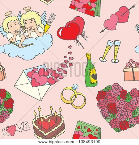 Vector Valentine's Day doodle seamless pattern with angels and sweets