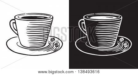 Hand drawn vector doodle cup with coffee or tea