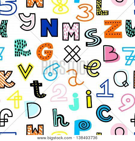 Vector seamless pattern with funky, hand drawn alphabet and numbers. Bright colors