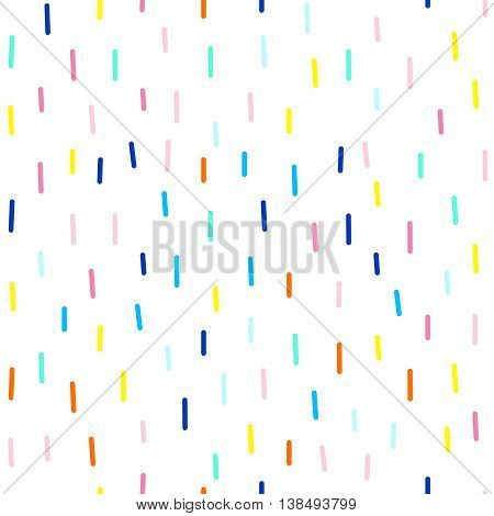 Vector seamless cute and funky pattern of dashes. Bright colors