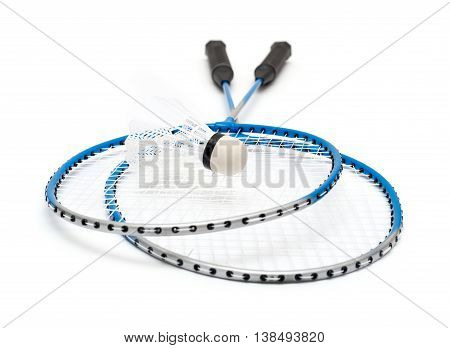 blue badminton racket isolated on white background