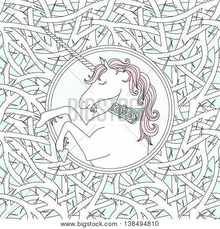 Vector seamless pattern with blackthorn and hand drawn cute unicorn. Pastel colors