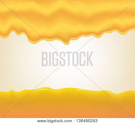 yogurt, cream or juice splashing. Orange smudges splashes drops on blue background. Vector illustration