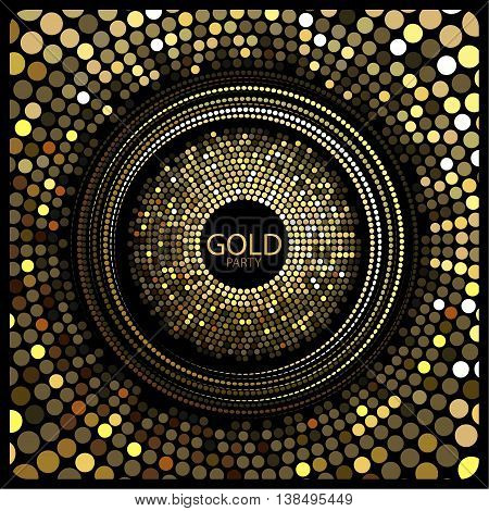 Vector. The depicted circles of different colors mimicking the effect of the glitter. Can be used as cover for greeting cards or as invitations to a disco party.The phrase gold party can be replaced.
