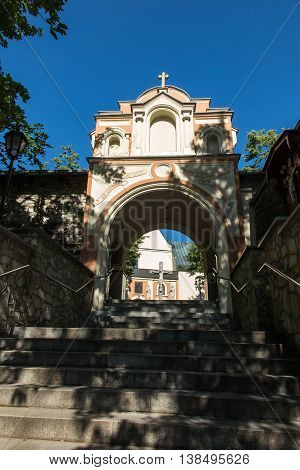 Stone stairs leading to the Basilica of St. Anne on Mount St. Anna in Poland