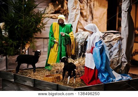 Very Large Christmas Nativity Crib. Jesus In The Manger. Holy Family