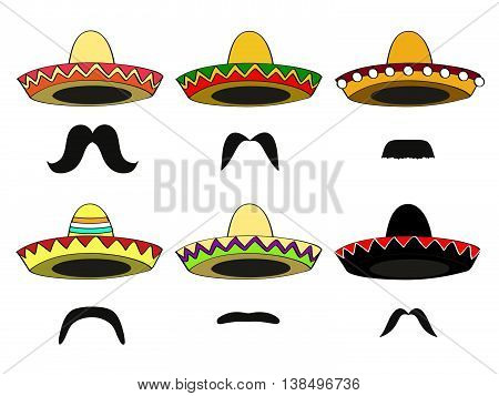 set of sixdifferent Mexican sombrero hats and Latin-American mustaches