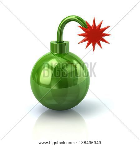 3D Illustration Of Green Bomb With Burning Wick