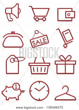3d illustration. Set of red shopping icons isolated on white background