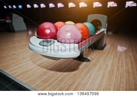 Bowling Balls At Bowl Lift With Ultraviolet Lighting