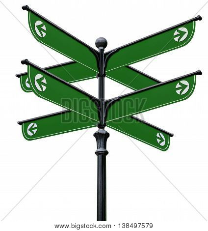 A black pillar with green signs on a white background