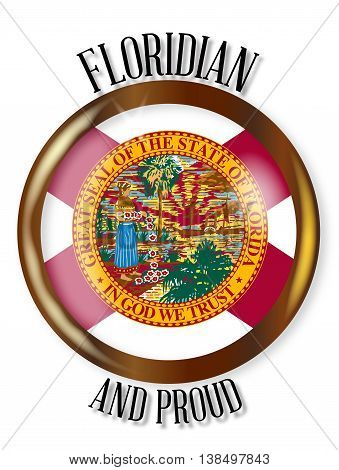 Florida state flag button with a gold metal circular border over a white background with the text Floridian and Proud