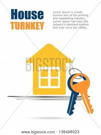 Flyer, poster - House under the key. House turnkey Flat design style. Design background for business