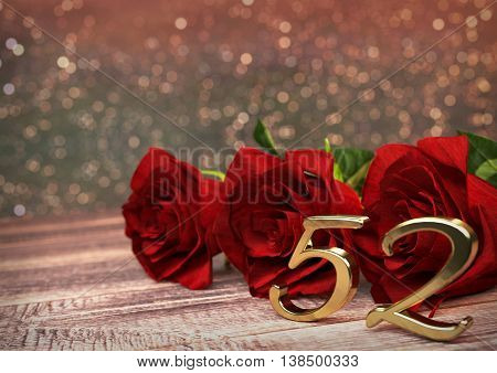 birthday concept with red roses on wooden desk. 3D render - fifty-second birthday. 52nd
