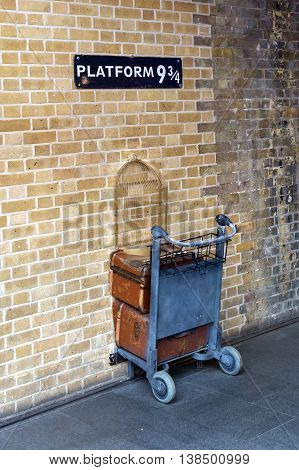Shopping Cart In The Wall At Platform 9 Three-quarter